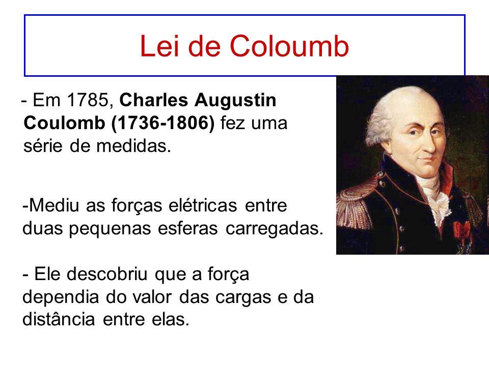 Lei de Coloumb - Em 1785, Charles Augustin Coulomb (1736-1806) fez uma série de medidas. -Mediu as forças elétricas entre duas pequenas esferas carreg