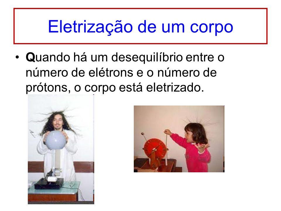 Eletrização de um corpo Quando há um desequilíbrio entre o número de elétrons e o número de prótons, o corpo está eletrizado.
