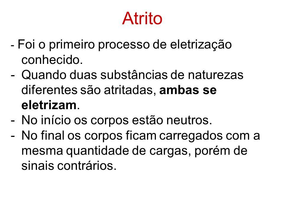 Atrito - Foi o primeiro processo de eletrização conhecido. -Quando duas substâncias de naturezas diferentes são atritadas, ambas se eletrizam. -No iní