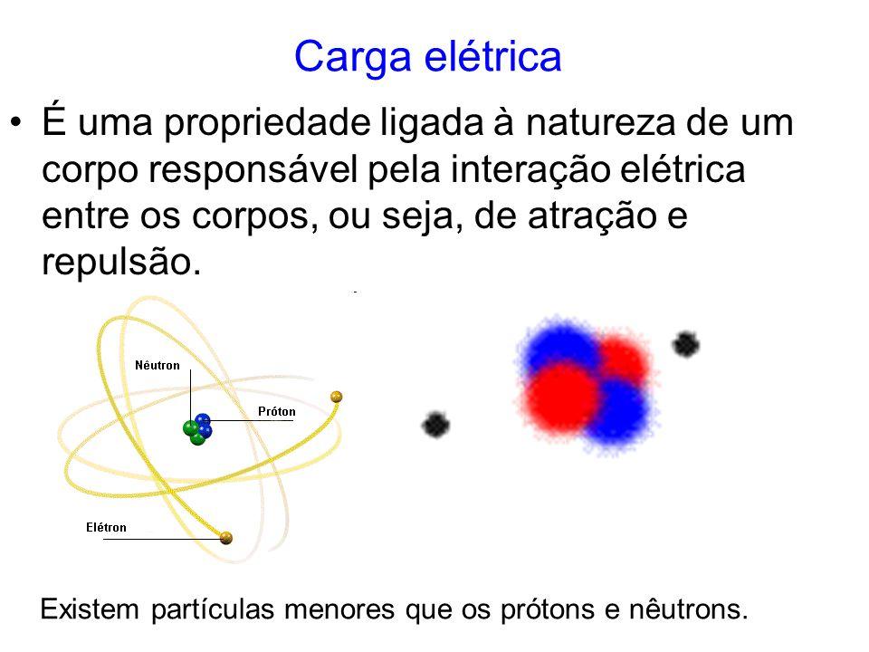 Carga elétrica É uma propriedade ligada à natureza de um corpo responsável pela interação elétrica entre os corpos, ou seja, de atração e repulsão. Ex