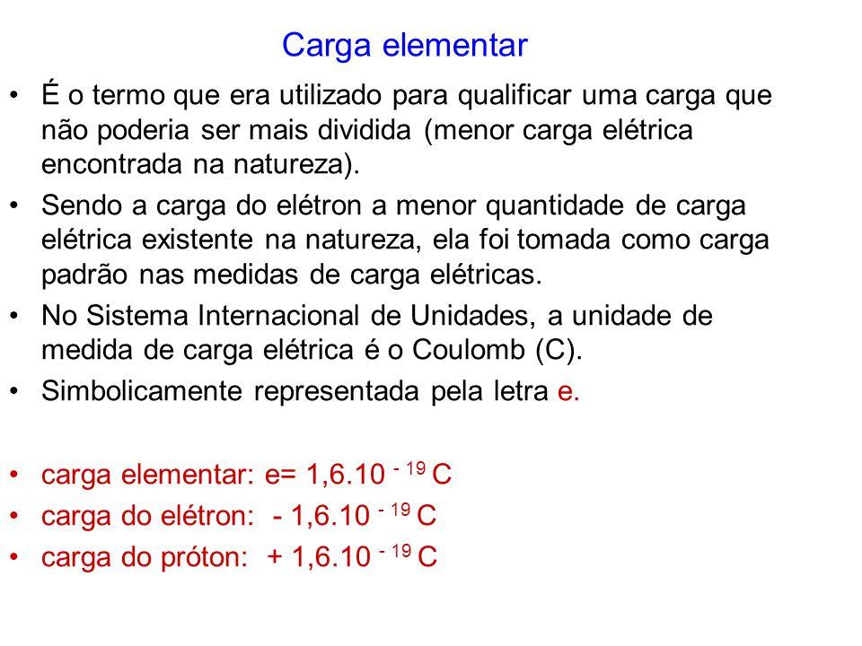 Carga elementar É o termo que era utilizado para qualificar uma carga que não poderia ser mais dividida (menor carga elétrica encontrada na natureza).