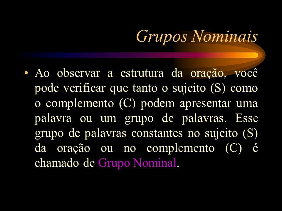 Grupos Nominais Ao observar a estrutura da oração, você pode verificar que tanto o sujeito (S) como o complemento (C) podem apresentar uma palavra ou