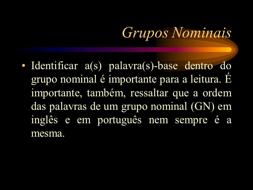 Grupos Nominais Identificar a(s) palavra(s)-base dentro do grupo nominal é importante para a leitura. É importante, também, ressaltar que a ordem das