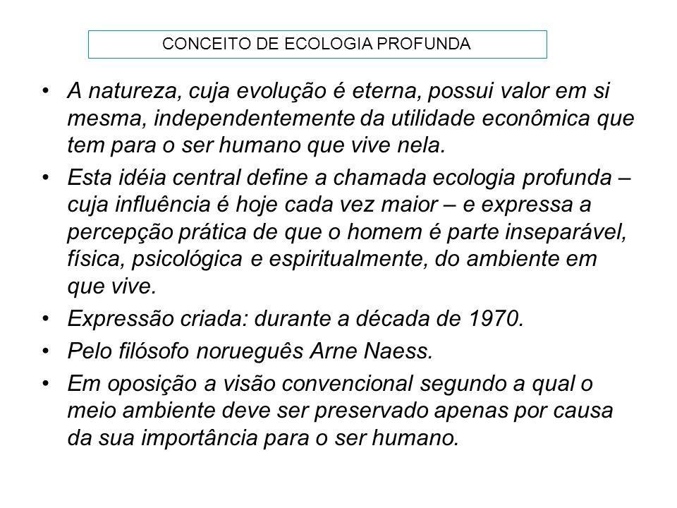 A natureza, cuja evolução é eterna, possui valor em si mesma, independentemente da utilidade econômica que tem para o ser humano que vive nela. Esta i