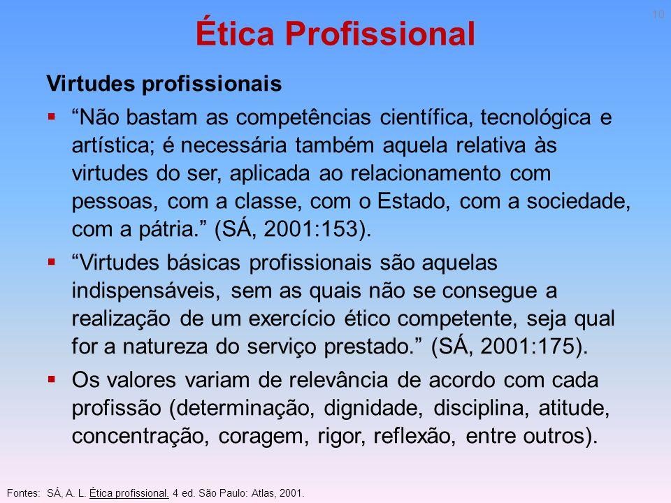 Ética Profissional Virtudes profissionais Não bastam as competências científica, tecnológica e artística; é necessária também aquela relativa às virtu