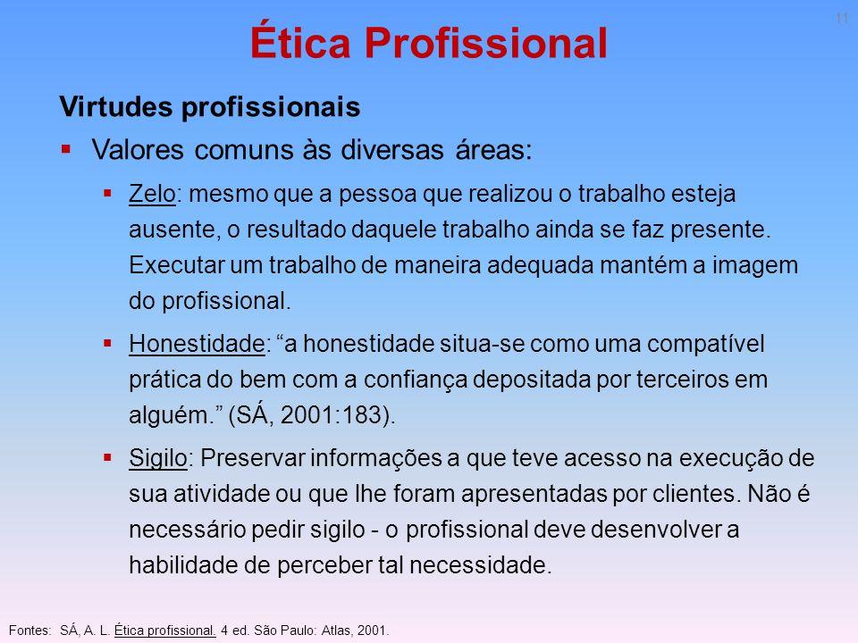 Ética Profissional Virtudes profissionais Valores comuns às diversas áreas: Zelo: mesmo que a pessoa que realizou o trabalho esteja ausente, o resulta