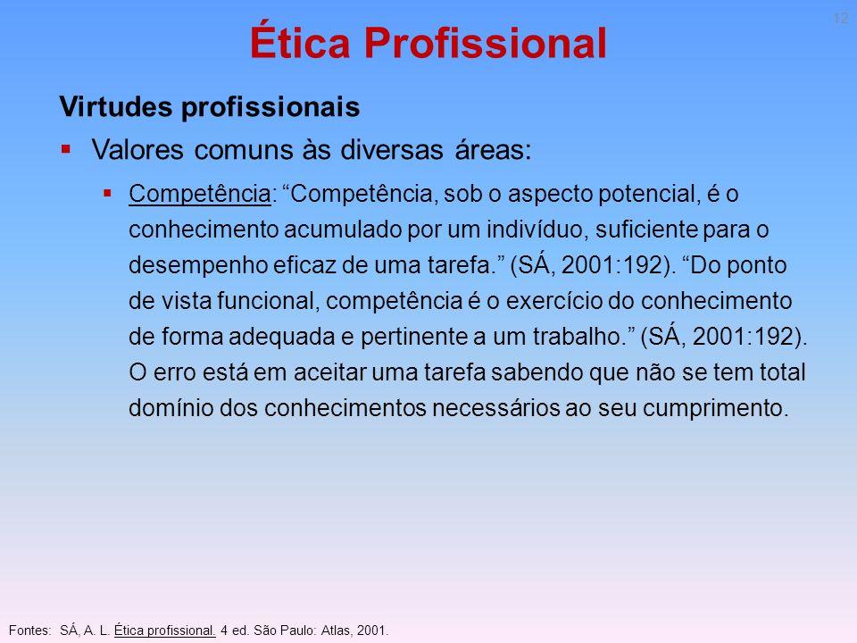 Ética Profissional Virtudes profissionais Valores comuns às diversas áreas: Competência: Competência, sob o aspecto potencial, é o conhecimento acumul