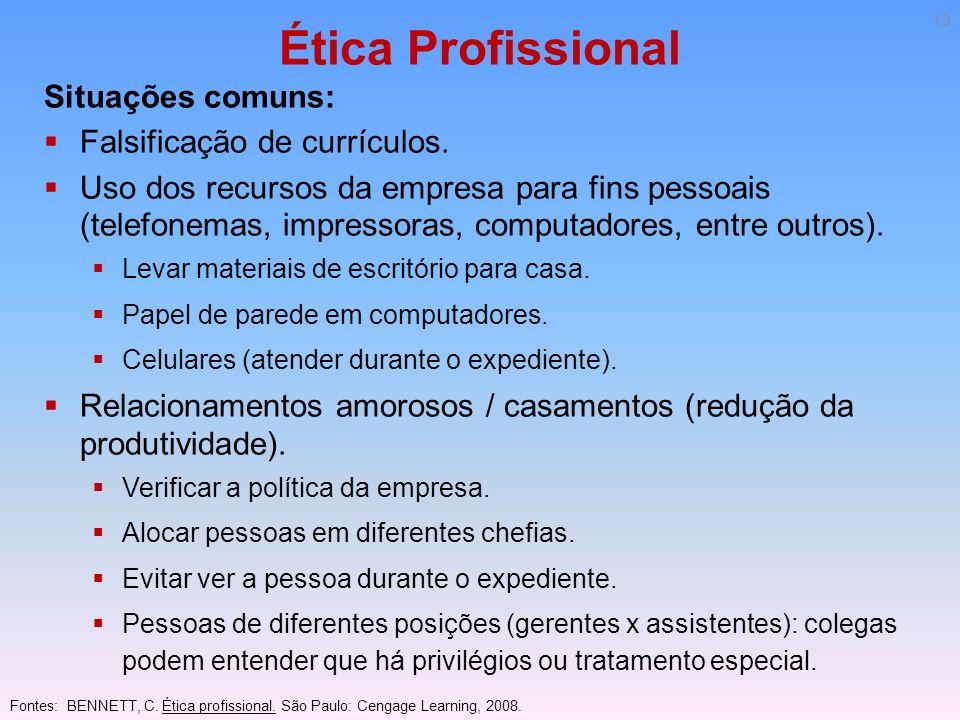 Ética Profissional Situações comuns: Falsificação de currículos. Uso dos recursos da empresa para fins pessoais (telefonemas, impressoras, computadore