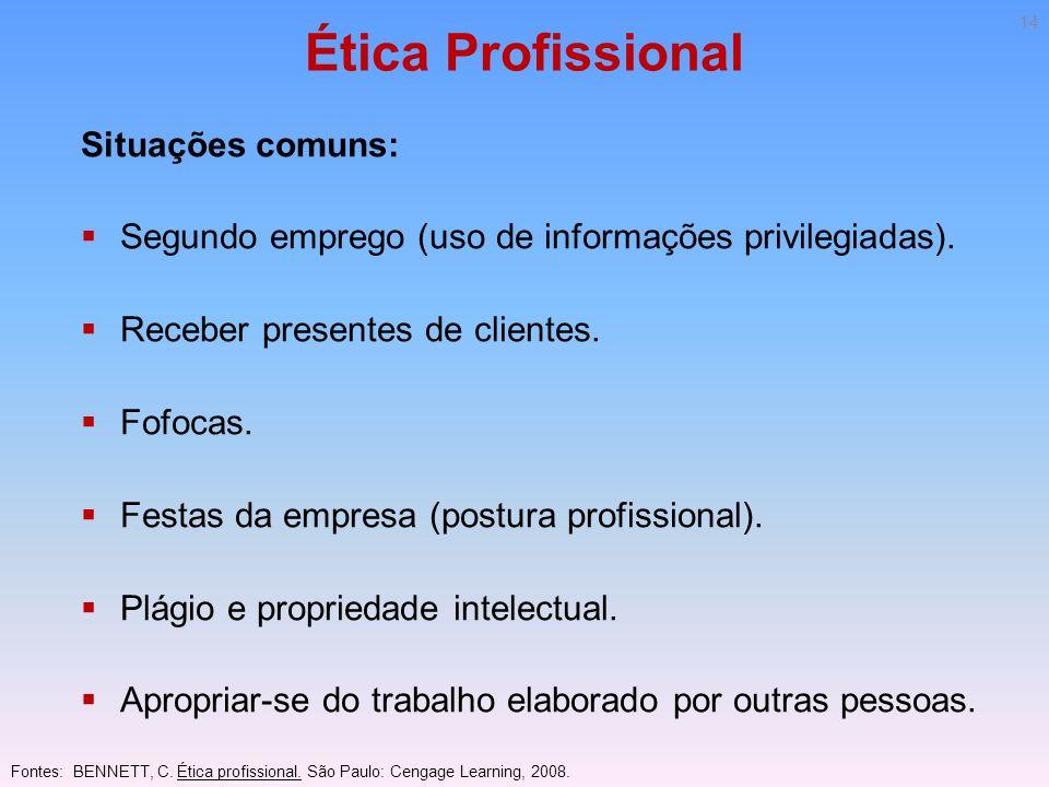Ética Profissional Situações comuns: Segundo emprego (uso de informações privilegiadas). Receber presentes de clientes. Fofocas. Festas da empresa (po