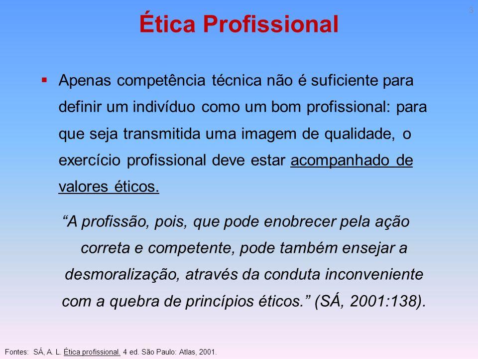 Ética Profissional Ética profissional e categorias profissionais Cada profissão possui valores específicos que lhes são pertinentes.