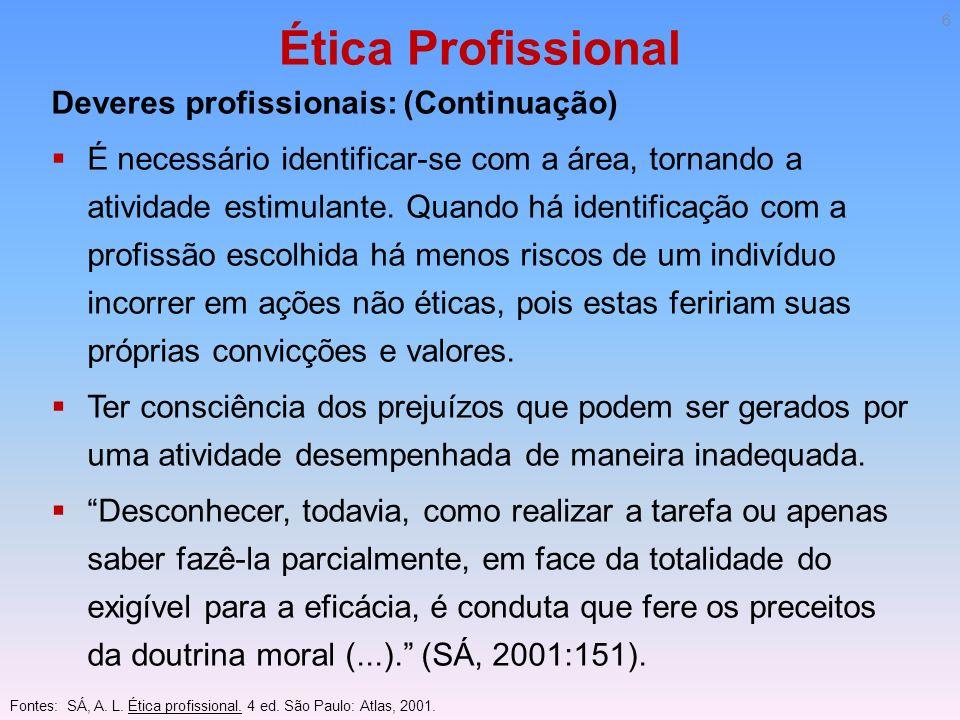 Ética Profissional Deveres profissionais: (Continuação) É necessário identificar-se com a área, tornando a atividade estimulante. Quando há identifica