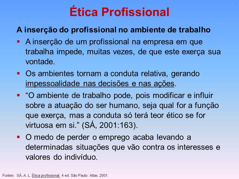 Ética Profissional A inserção do profissional no ambiente de trabalho A inserção de um profissional na empresa em que trabalha impede, muitas vezes, d