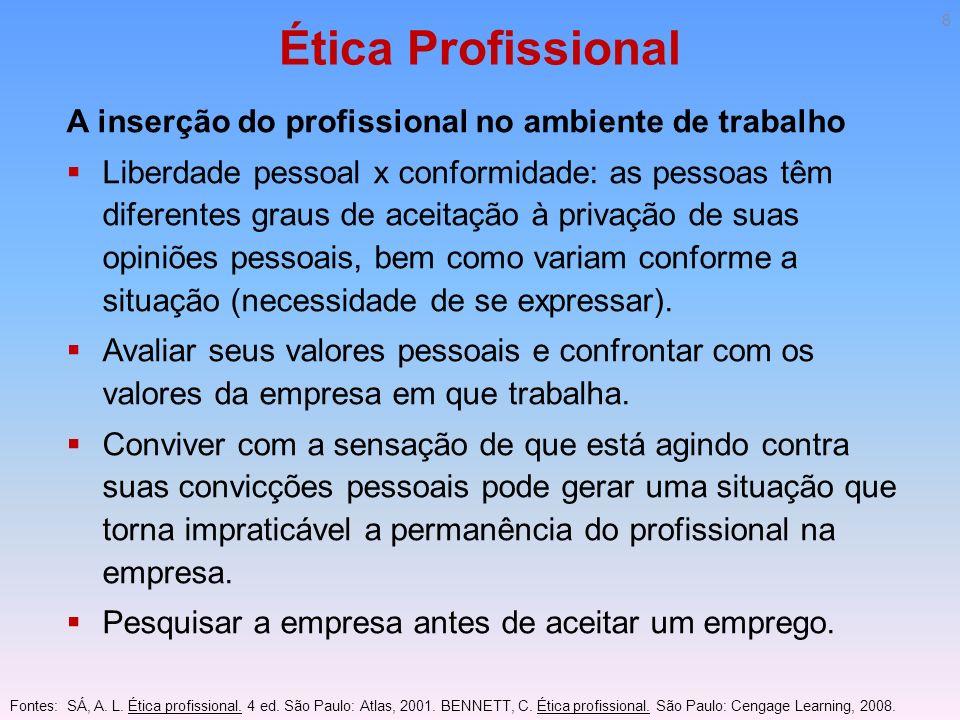 Ética Profissional A inserção do profissional no ambiente de trabalho Algumas pessoas passam a demonstrar sua insegurança e descontentamento no ambiente de trabalho por meio de problemas de saúde.