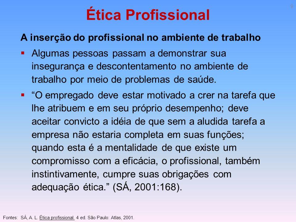 Ética Profissional A inserção do profissional no ambiente de trabalho Algumas pessoas passam a demonstrar sua insegurança e descontentamento no ambien