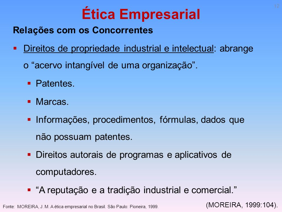 Ética Empresarial Relações com os Concorrentes Direitos de propriedade industrial e intelectual: abrange o acervo intangível de uma organização. Paten