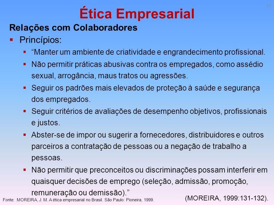 Ética Empresarial Relações com Colaboradores Princípios: Manter um ambiente de criatividade e engrandecimento profissional. Não permitir práticas abus
