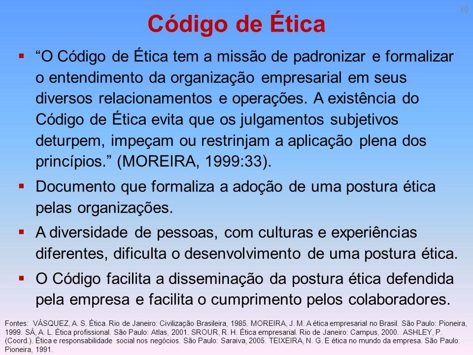 Código de Ética O Código de Ética tem a missão de padronizar e formalizar o entendimento da organização empresarial em seus diversos relacionamentos e
