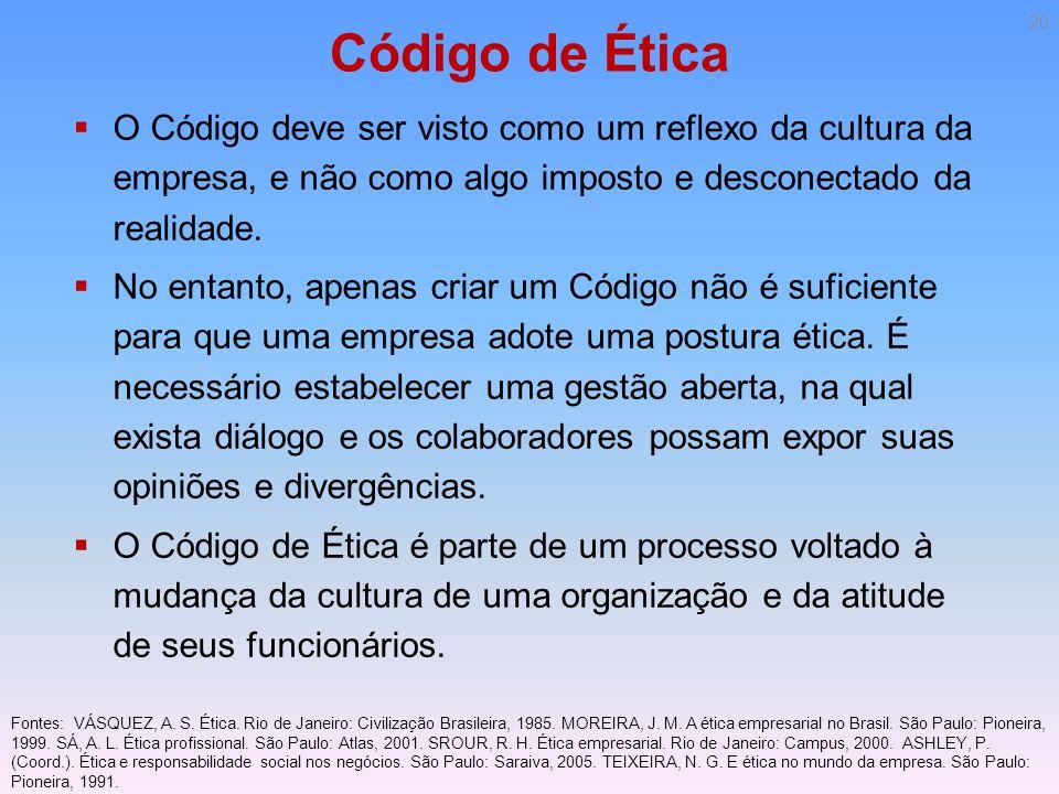 Código de Ética O Código deve ser visto como um reflexo da cultura da empresa, e não como algo imposto e desconectado da realidade. No entanto, apenas
