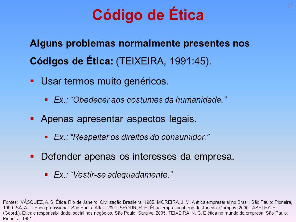 Código de Ética Alguns problemas normalmente presentes nos Códigos de Ética: (TEIXEIRA, 1991:45). Usar termos muito genéricos. Ex.: Obedecer aos costu