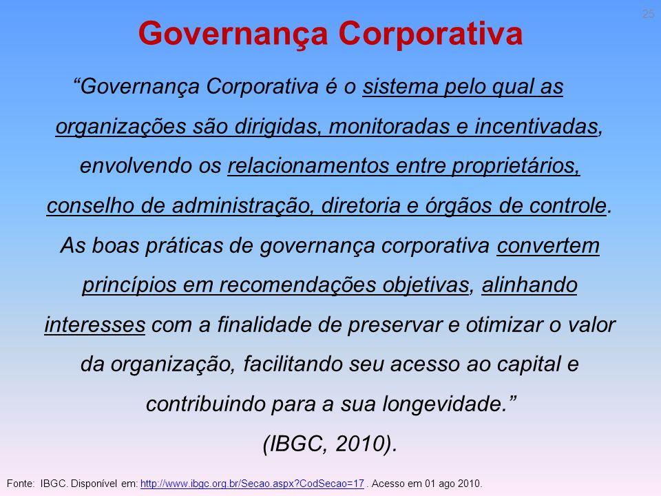 Governança Corporativa Governança Corporativa é o sistema pelo qual as organizações são dirigidas, monitoradas e incentivadas, envolvendo os relaciona