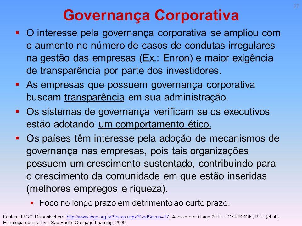 Governança Corporativa O interesse pela governança corporativa se ampliou com o aumento no número de casos de condutas irregulares na gestão das empre