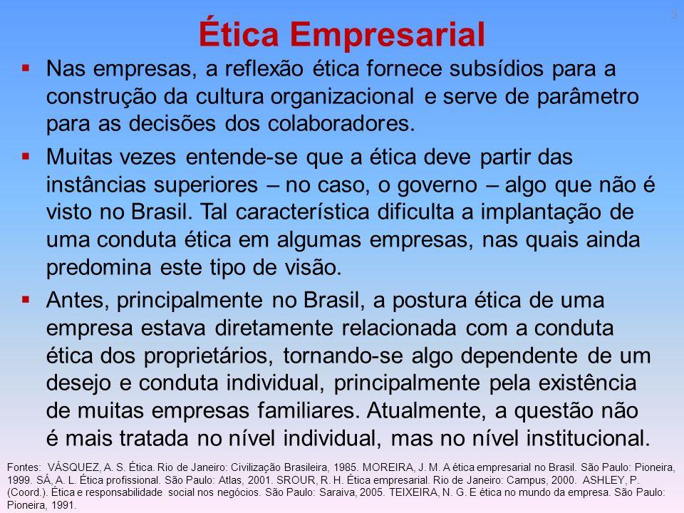Ética Empresarial Nas empresas, a reflexão ética fornece subsídios para a construção da cultura organizacional e serve de parâmetro para as decisões d