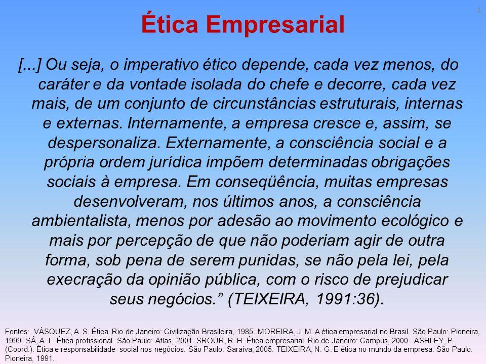 Ética Empresarial [...] Ou seja, o imperativo ético depende, cada vez menos, do caráter e da vontade isolada do chefe e decorre, cada vez mais, de um