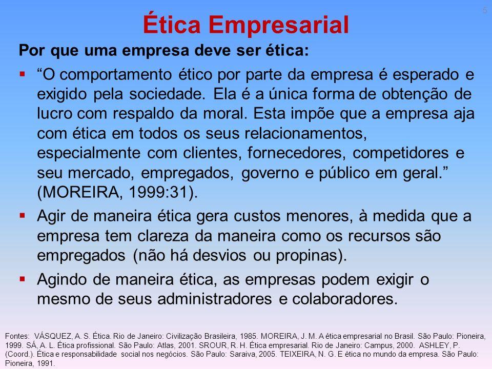 Ética Empresarial Por que uma empresa deve ser ética: O comportamento ético por parte da empresa é esperado e exigido pela sociedade. Ela é a única fo