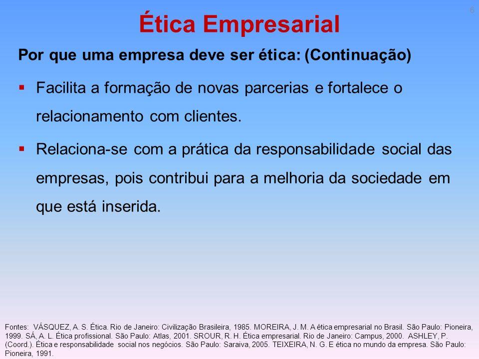 Ética Empresarial Por que uma empresa deve ser ética: (Continuação) Facilita a formação de novas parcerias e fortalece o relacionamento com clientes.