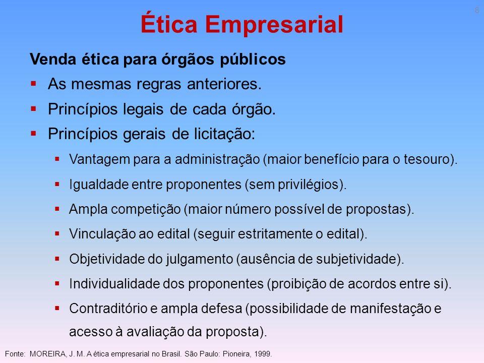 Ética Empresarial Venda ética para órgãos públicos As mesmas regras anteriores. Princípios legais de cada órgão. Princípios gerais de licitação: Vanta