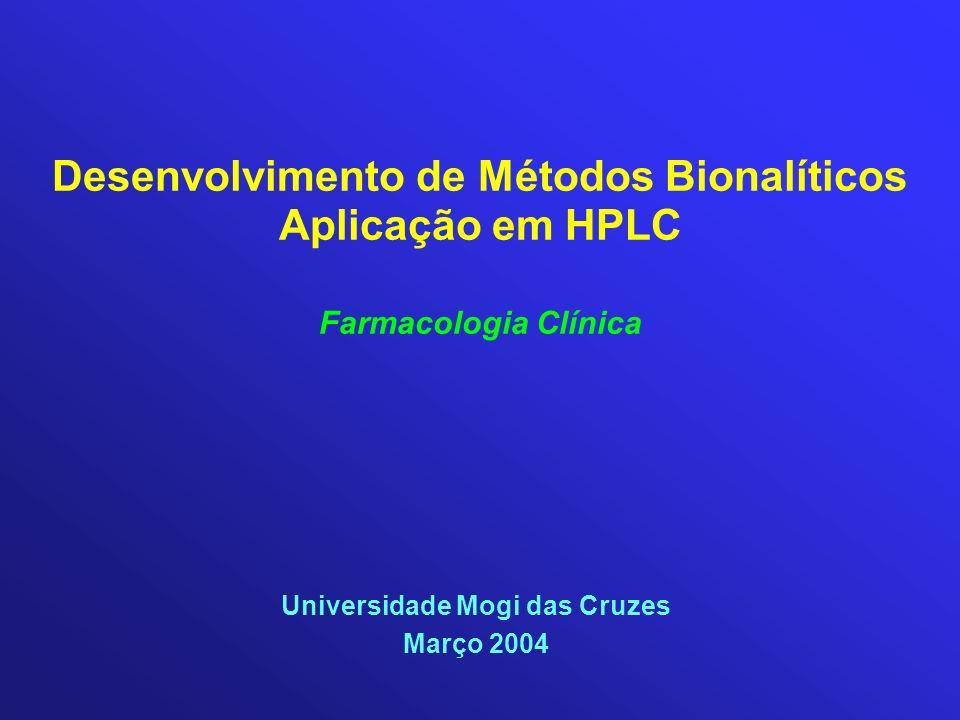Desenvolvimento de Métodos Bionalíticos Aplicação em HPLC Farmacologia Clínica Universidade Mogi das Cruzes Março 2004