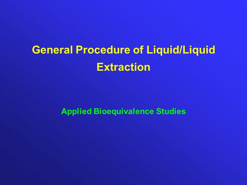 General Procedure of Liquid/Liquid Extraction Applied Bioequivalence Studies