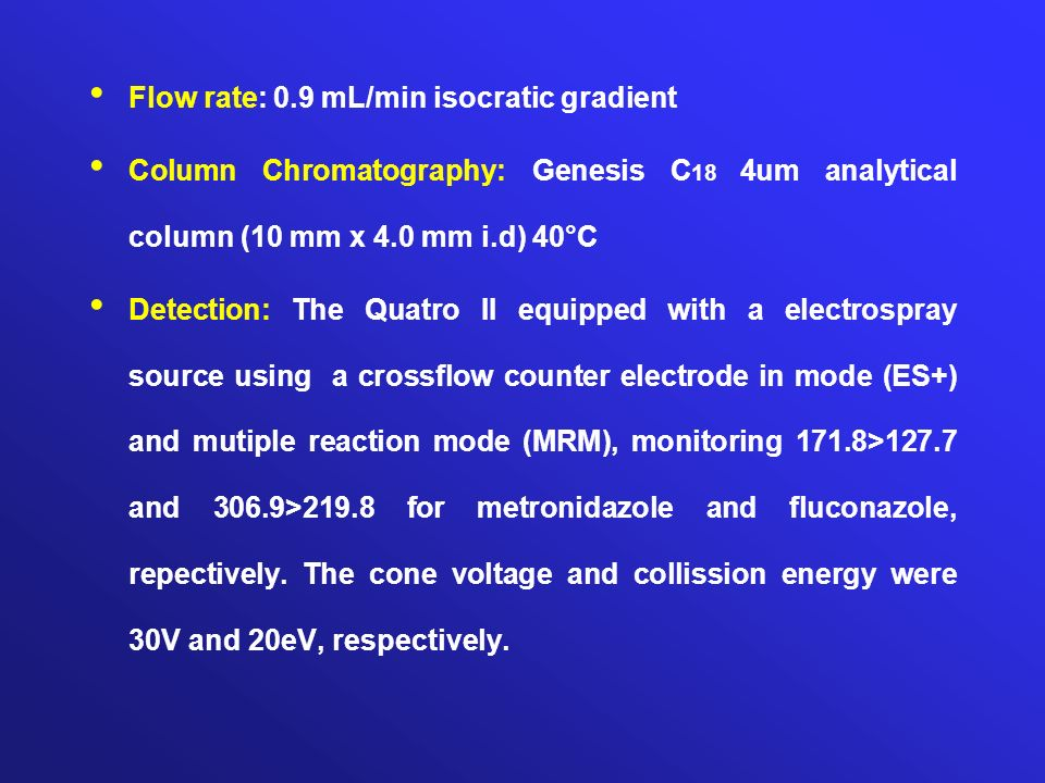 Flow rate: 0.9 mL/min isocratic gradient Column Chromatography: Genesis C 18 4um analytical column (10 mm x 4.0 mm i.d) 40°C Detection: The Quatro II