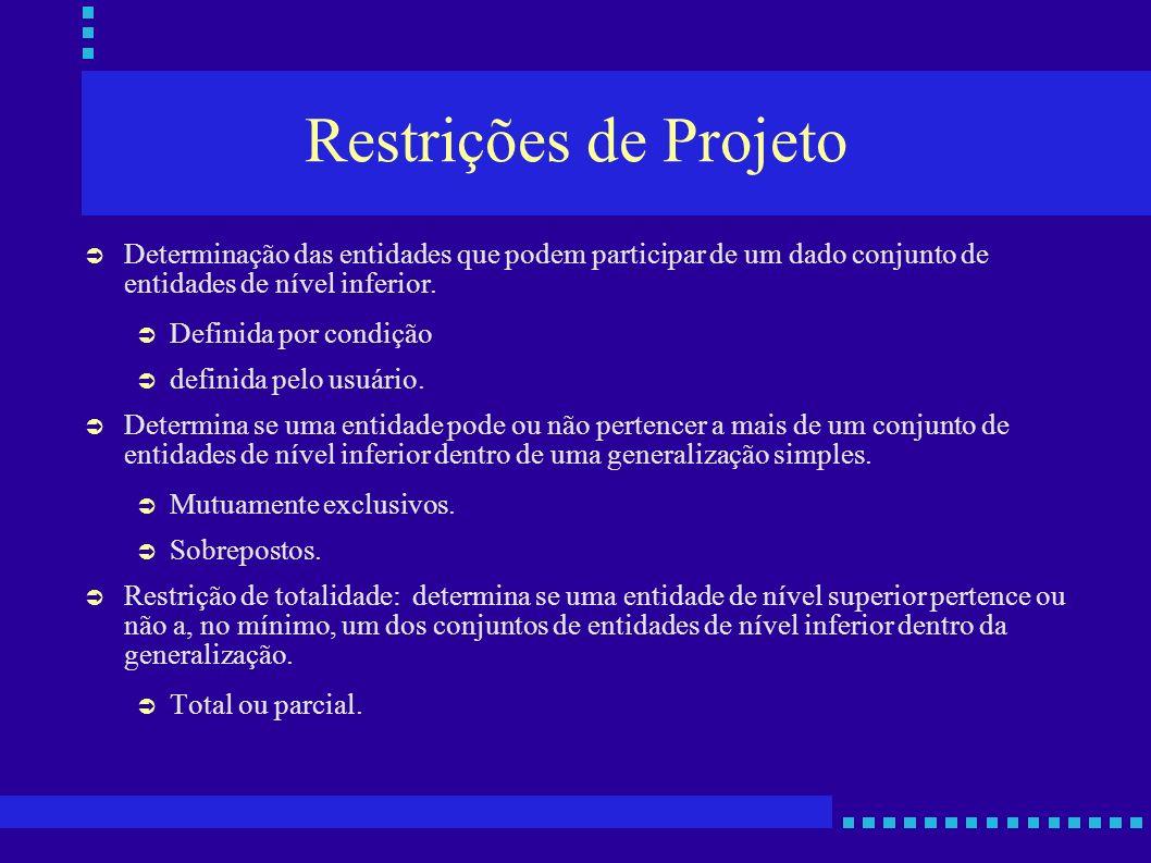 Restrições de Projeto Determinação das entidades que podem participar de um dado conjunto de entidades de nível inferior. Definida por condição defini