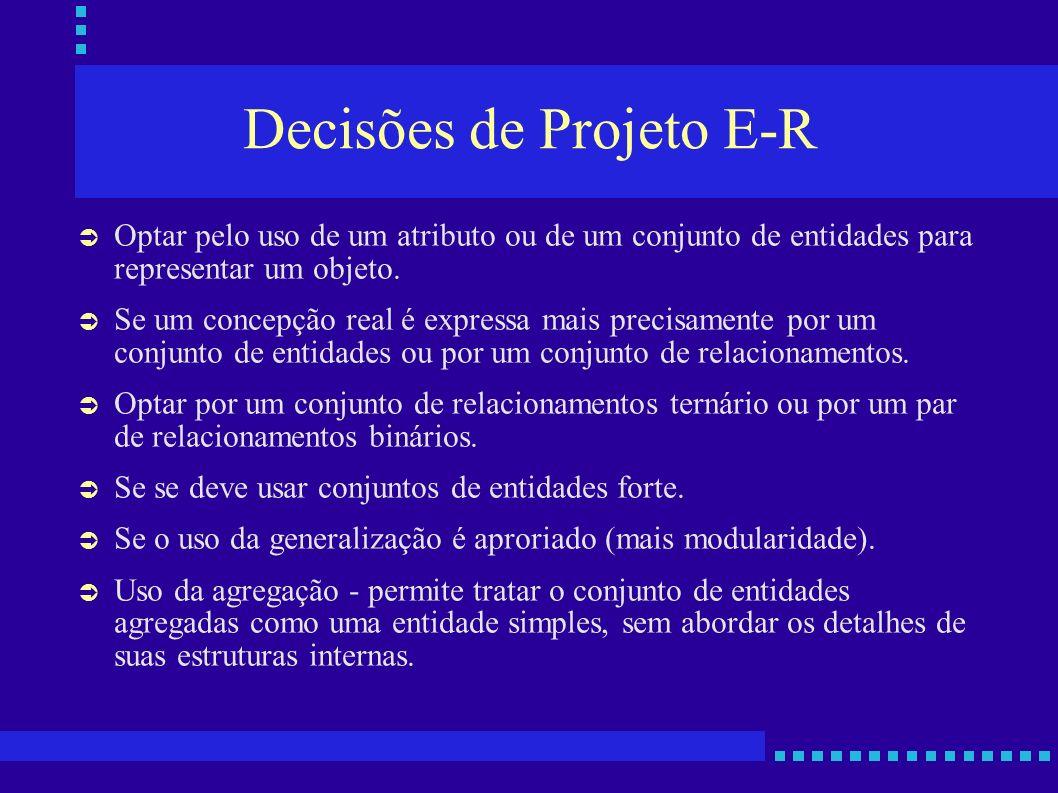 Decisões de Projeto E-R Optar pelo uso de um atributo ou de um conjunto de entidades para representar um objeto. Se um concepção real é expressa mais