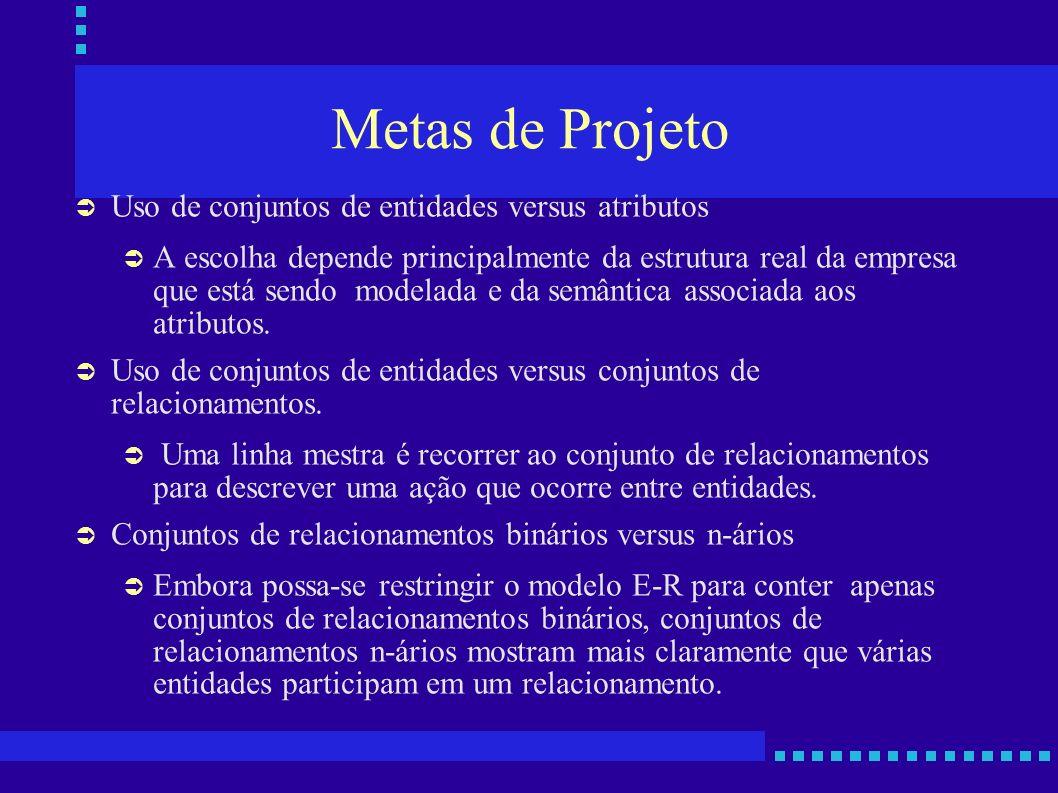 Metas de Projeto Uso de conjuntos de entidades versus atributos A escolha depende principalmente da estrutura real da empresa que está sendo modelada