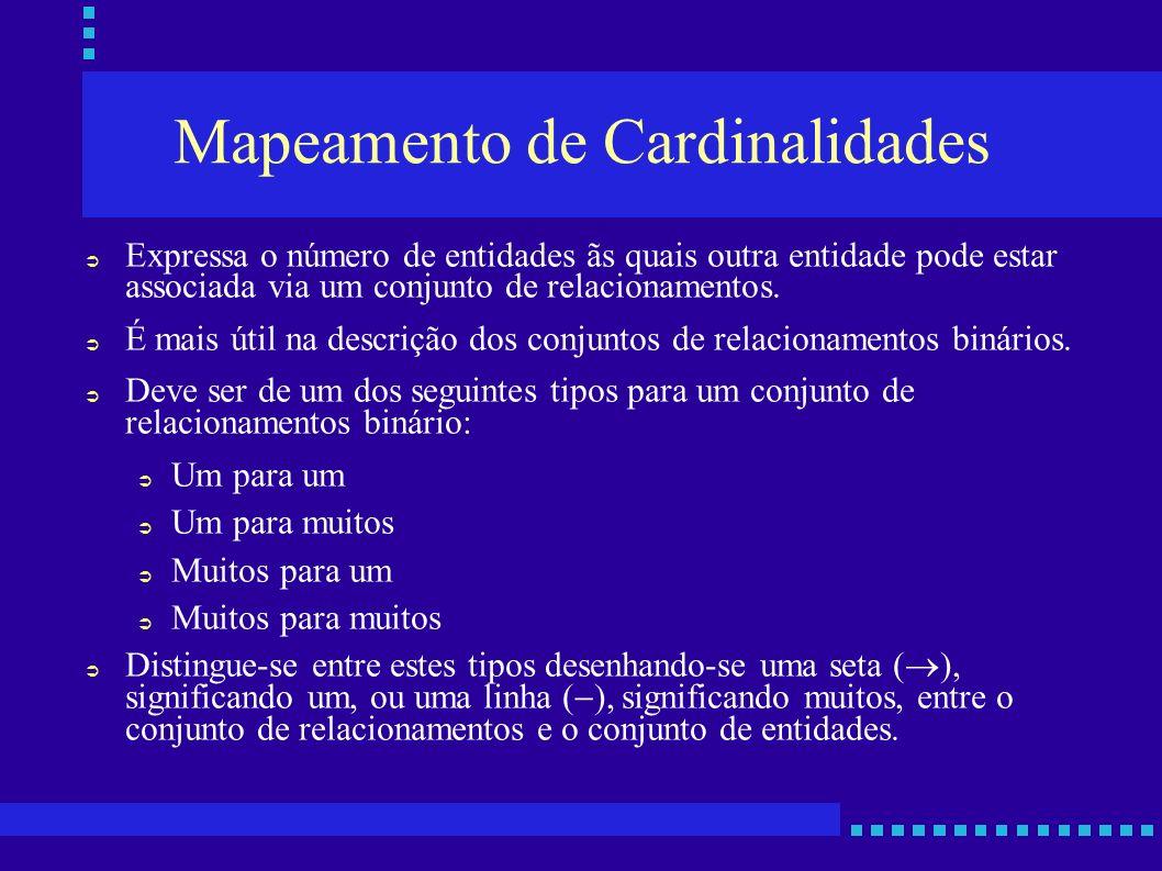 Mapeamento de Cardinalidades Expressa o número de entidades ãs quais outra entidade pode estar associada via um conjunto de relacionamentos. É mais út