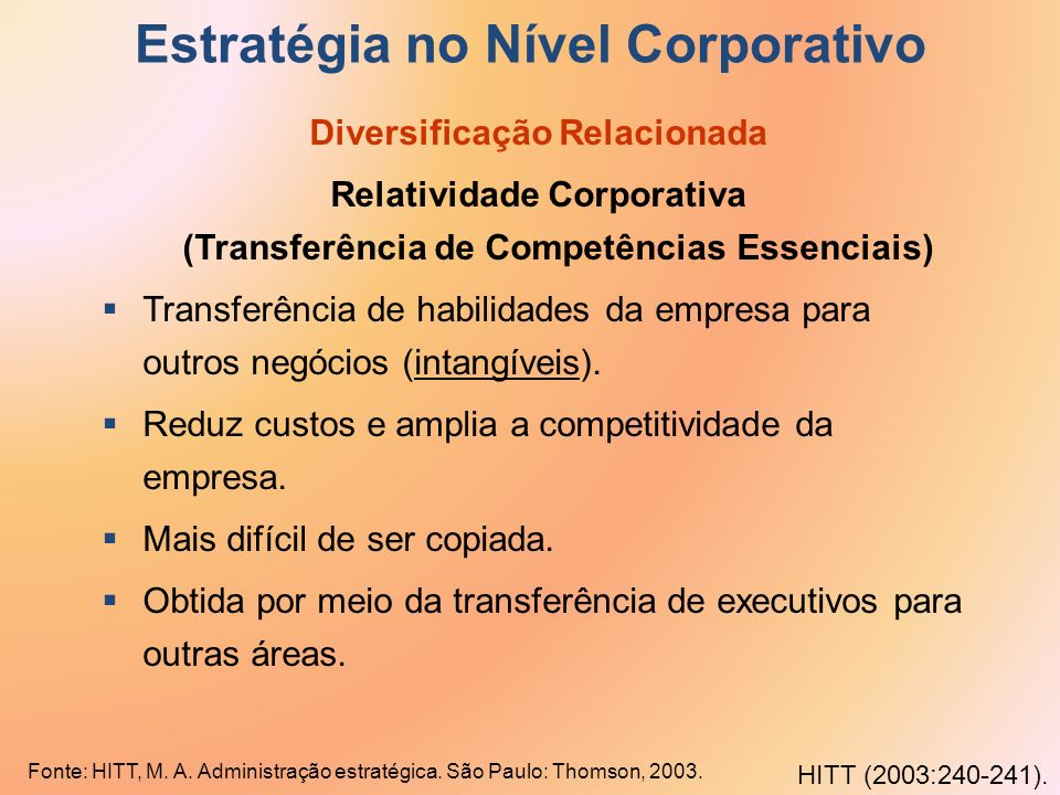 Estratégia no Nível Corporativo Diversificação Relacionada Relatividade Corporativa (Transferência de Competências Essenciais) Transferência de habili