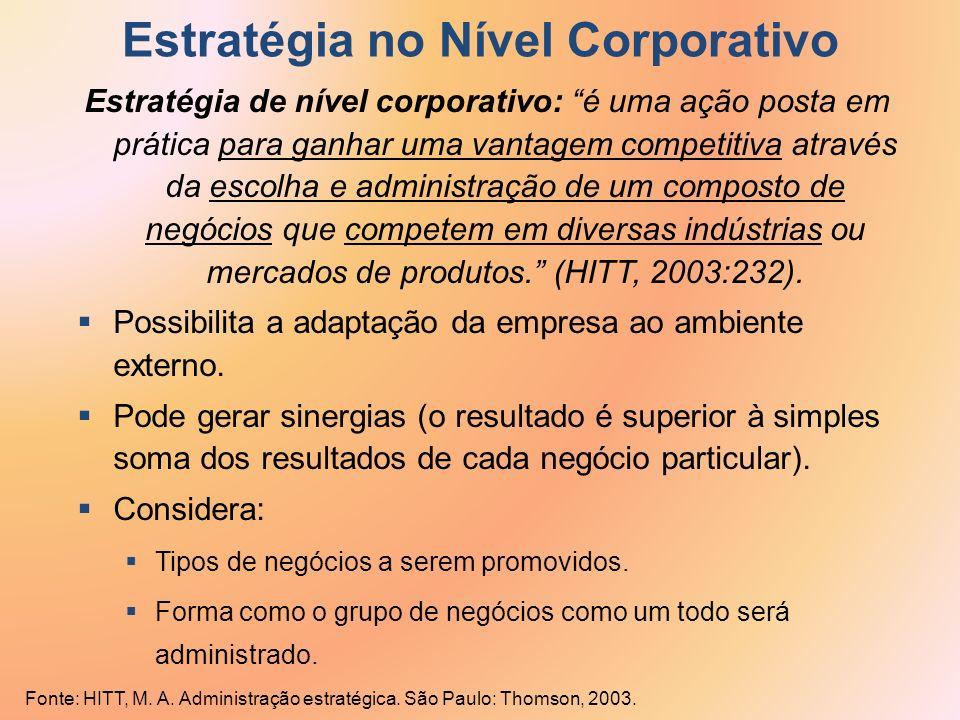 Estratégia de nível corporativo: é uma ação posta em prática para ganhar uma vantagem competitiva através da escolha e administração de um composto de