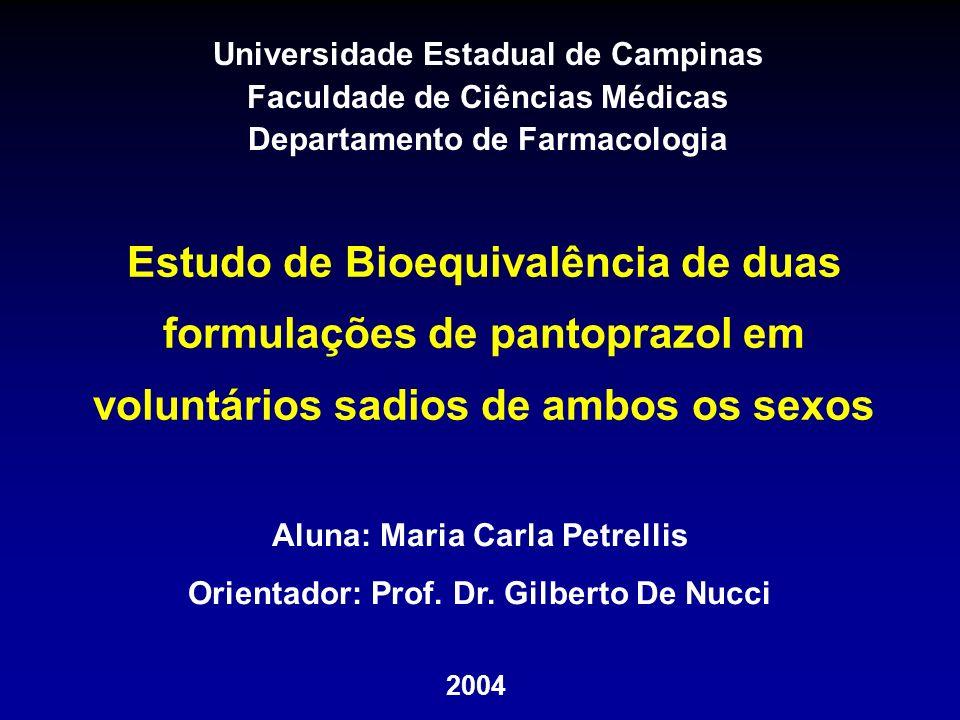 Universidade Estadual de Campinas Faculdade de Ciências Médicas Departamento de Farmacologia Estudo de Bioequivalência de duas formulações de pantopra