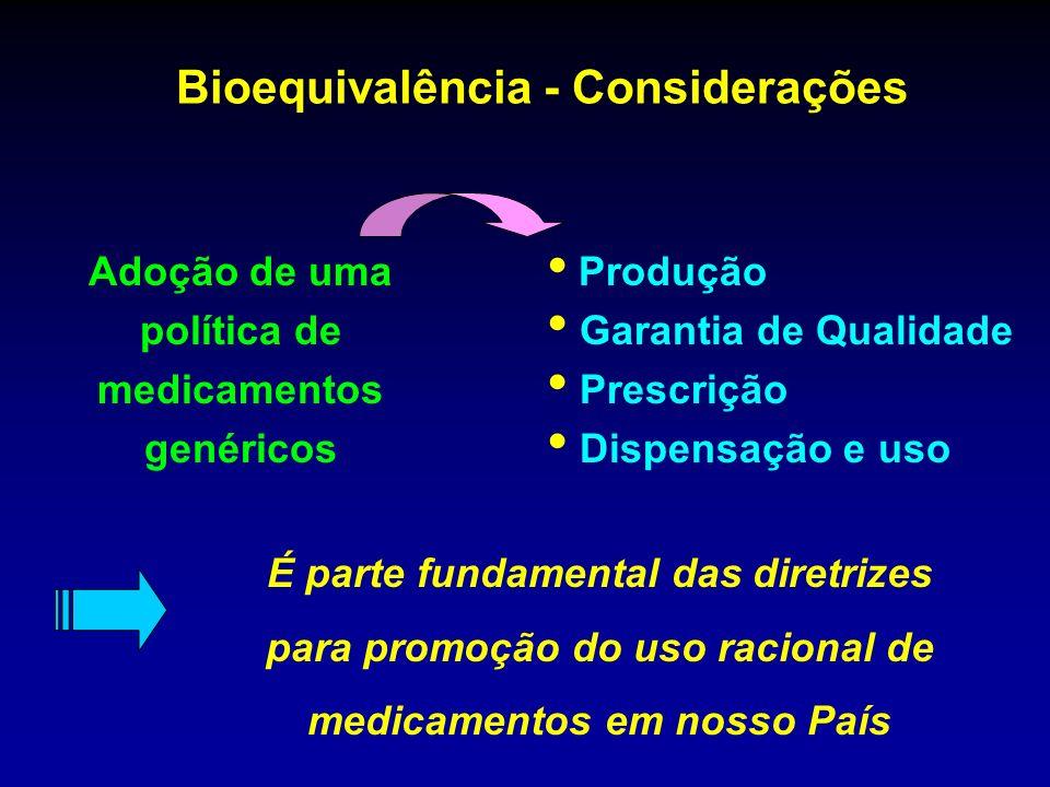 Bioequivalência - Considerações Adoção de uma política de medicamentos genéricos Produção Garantia de Qualidade Prescrição Dispensação e uso É parte f