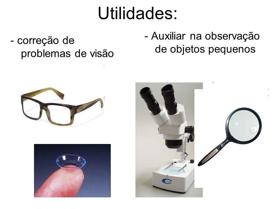 Utilidades: - correção de problemas de visão - Auxiliar na observação de objetos pequenos