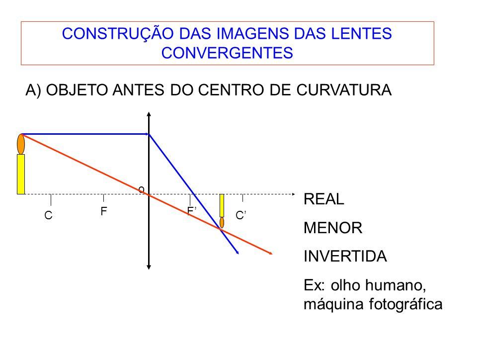 C F o F C CONSTRUÇÃO DAS IMAGENS DAS LENTES CONVERGENTES A) OBJETO ANTES DO CENTRO DE CURVATURA REAL MENOR INVERTIDA Ex: olho humano, máquina fotográfica