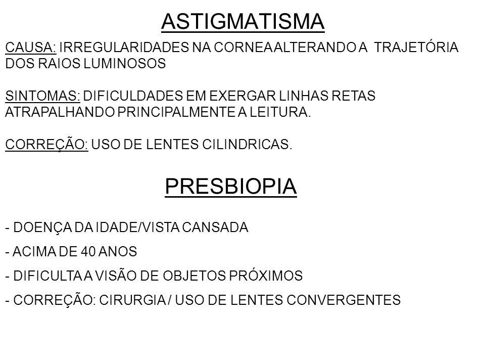 ASTIGMATISMA CAUSA: IRREGULARIDADES NA CORNEA ALTERANDO A TRAJETÓRIA DOS RAIOS LUMINOSOS SINTOMAS: DIFICULDADES EM EXERGAR LINHAS RETAS ATRAPALHANDO PRINCIPALMENTE A LEITURA.