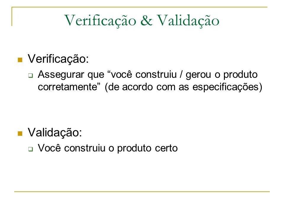 Verificação & Validação Verificação: Assegurar que você construiu / gerou o produto corretamente (de acordo com as especificações) Validação: Você con