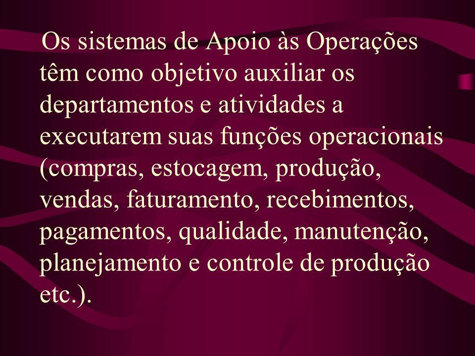 Os sistemas de Apoio às Operações têm como objetivo auxiliar os departamentos e atividades a executarem suas funções operacionais (compras, estocagem,