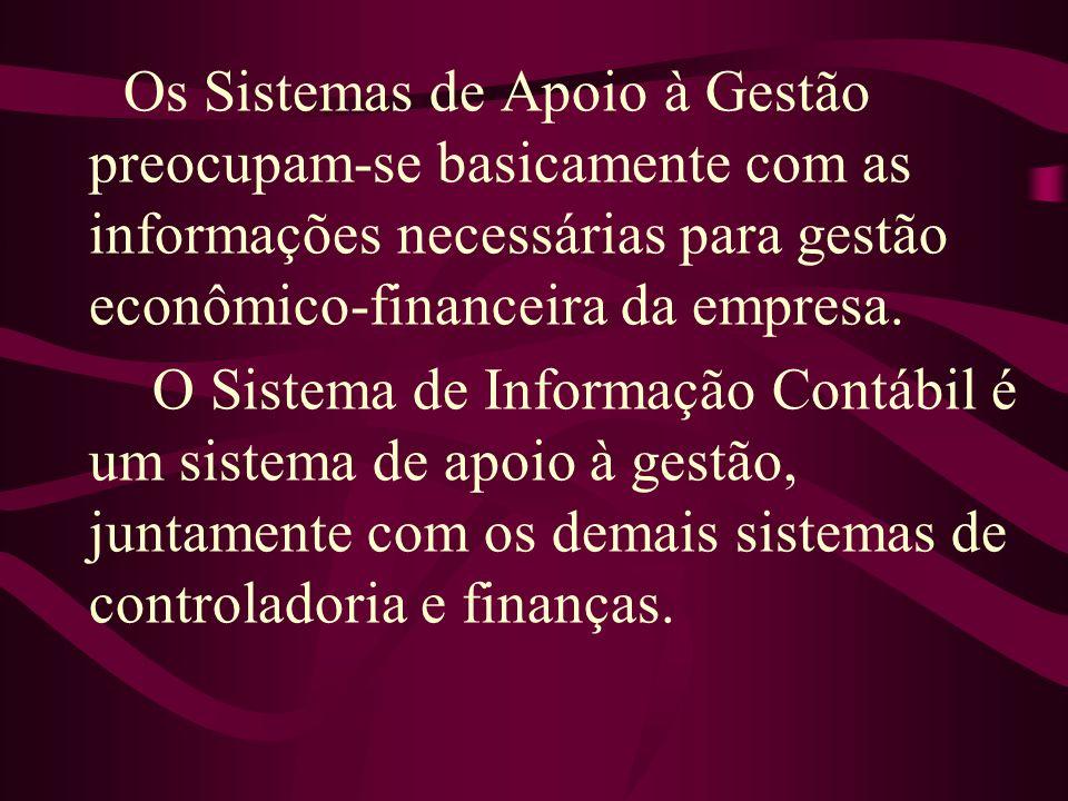 Os Sistemas de Apoio à Gestão preocupam-se basicamente com as informações necessárias para gestão econômico-financeira da empresa. O Sistema de Inform
