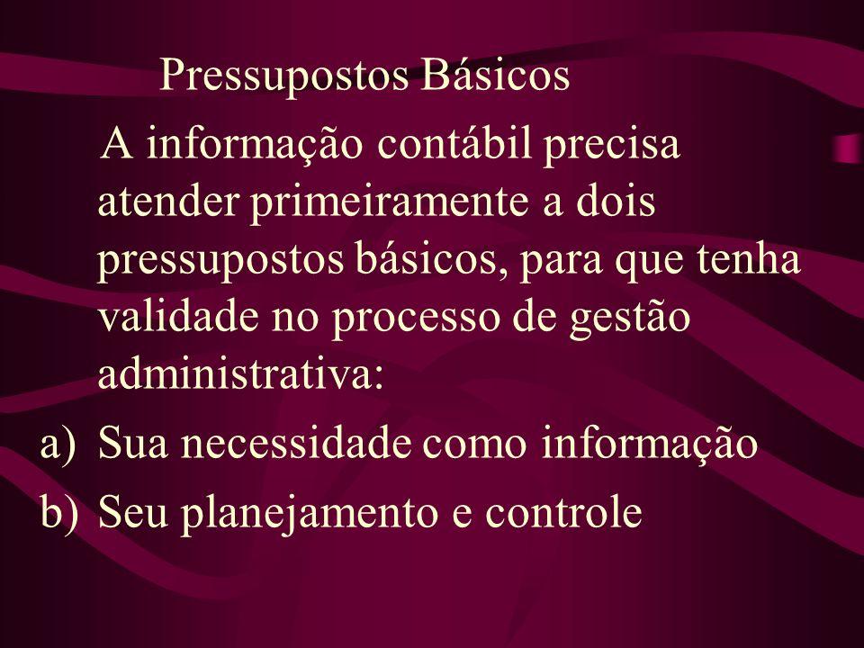 Pressupostos Básicos A informação contábil precisa atender primeiramente a dois pressupostos básicos, para que tenha validade no processo de gestão ad