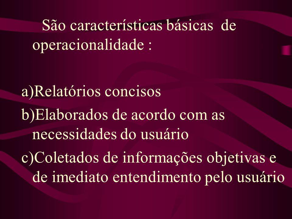 São características básicas de operacionalidade : a)Relatórios concisos b)Elaborados de acordo com as necessidades do usuário c)Coletados de informaçõ