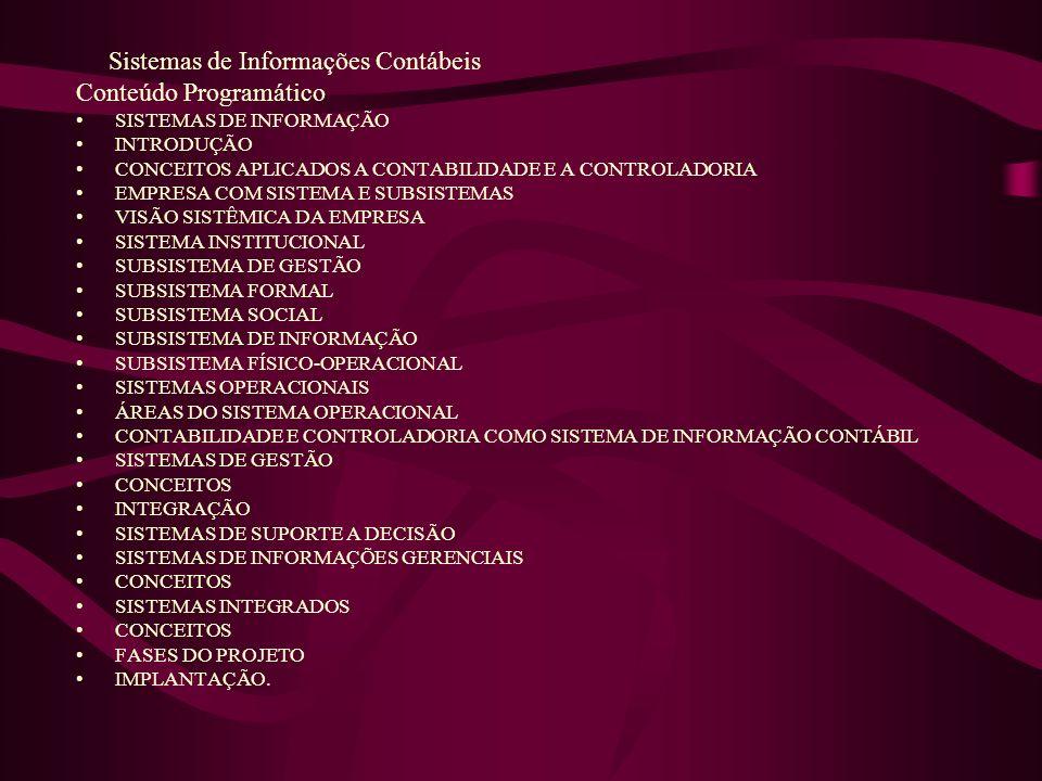 Sistemas de Informações Contábeis Conteúdo Programático SISTEMAS DE INFORMAÇÃO INTRODUÇÃO CONCEITOS APLICADOS A CONTABILIDADE E A CONTROLADORIA EMPRES